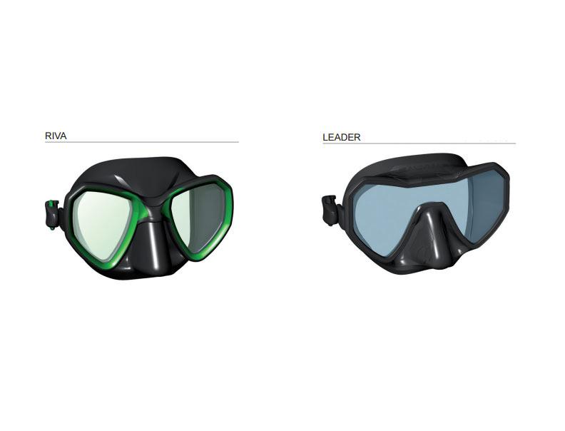 Masques de chasse sous-marine Riva et Leader